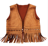 This Boho Chic fringe suede vest is the perfect look for your little girl. Throw this over a long sleeve romper, dress or tee and you have the perfect Fall outfit. This sleeveless tan top has cutout designs and long fringes at the bottom. Your boho chic babe will love rocking this adorable outfit.