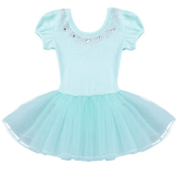 Class Dance Clothes Kids Girls Mesh Short Bubble Sleeves Sparkly Rhinestones Ballet Dance Gymnastics Leotard Tutu Dress