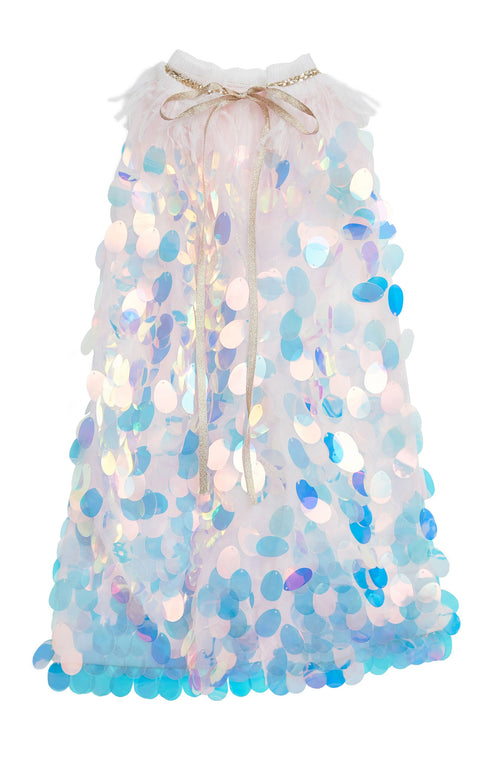 Absolutely stunning! This full length cape is breathtaking. It adds just the right amount of shimmer and shine. The top of the cape is lined with white feathers and ties with ribbon. The full circle sequins are iridescent and truly glisten beautifully. Your mini fashionista will be the talk of the party!