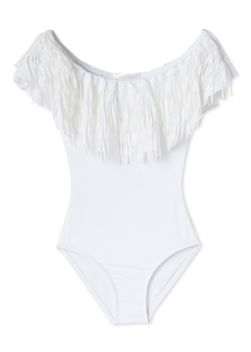 This Stella Cove gorgeous one piece off the shoulder tassel swimsuit can also be matched with our mini Fringe Suit.  AVAILABLE IN MINI SIZE TOO!