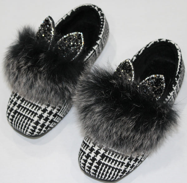 faux fur bunny ear shoes. The bunny ears are filled with black and charcoal rhinestones.
