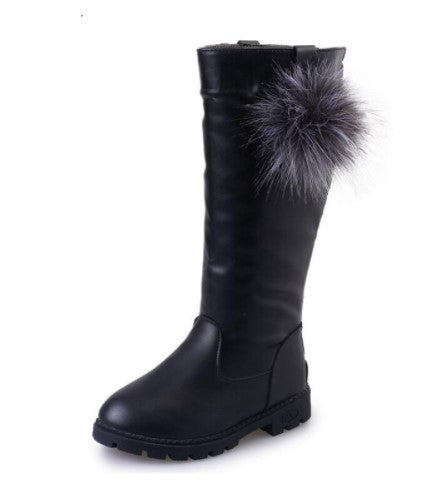 Knee High Leather Boots with detachable Pom Pom's. They run SMALL. Please order one size up.