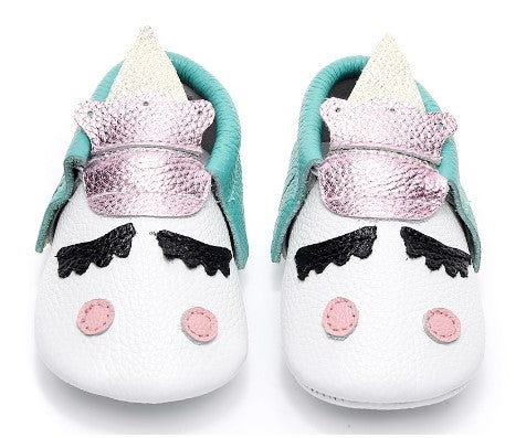 Pastel unicorn styled moccasins. Sizes 1-5 Toddler