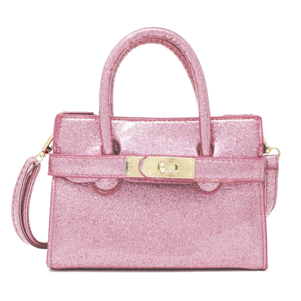 For our chic Boujie Fashionista's, our Sparkle Buckle Bag completes all of our high fashion and dressy outfits. The bag comes with two handles along with a shoulder strap which hangs long on the side. There is a buckle in the front which clasps the bag together. Great accessory for babies, toddlers and tweens. Available in 2 solid colors - Hot Pink & Light Pink