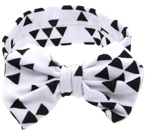 white headband with triangular patterned shapes