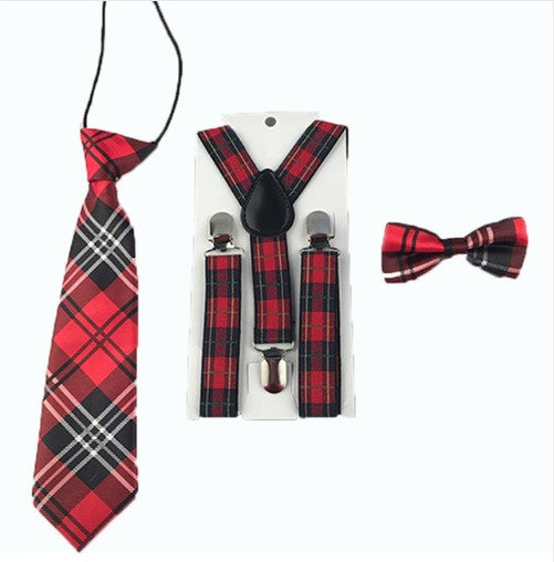 Red Checkered 3 piece set includes suspenders, bow tie and tie. Dress any outfit up with these adorable accessories!  The Tie comes on an elastic circle making it super easy to put on.