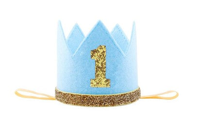 This crown is wrapped in Blue with gold glitter 1 across the top. The dimensions are 8cm wide & 7.3 cm high.