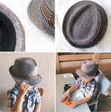 Cabaret boys rimmed hat with brown stitching design around outside of hat.
