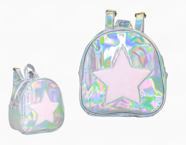 "Our Boujie Kidz American Jeweled Disco Vibe Star Backpacks have just arrived!The Star Backpack has adjustable shoulder straps. Inside is lined and has a side zipper pocket. Approximate Dimensions: 8.5"" X 5.25"" X 9.25"" Our fabulous Backpacks come in 2 Colors: Pink Iridescent & Pink Fur Silver Iridescent & Pink Fur Perfect accessory for teens, tweens and toddlers!"