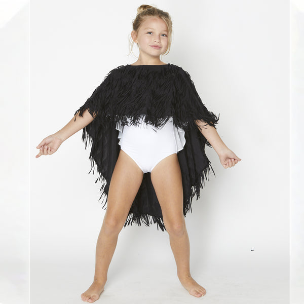 This Stella Cove gorgeous  Black Fringe Cover up is lined with fringes and comes high in the front and low in the back. This is perfect to throw over any bathing suit.