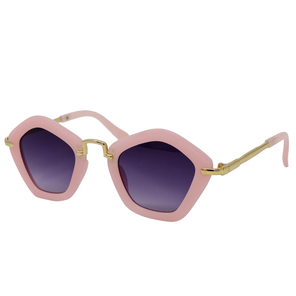 These super chill Pink Polygon Sunglasses set the tone for a bright sunny day. Your mini fashionista did not come to play! These light pink sunglasses are polygon shaped with pink arms. We are loving these new accessories which are perfect for your toddler or tween.