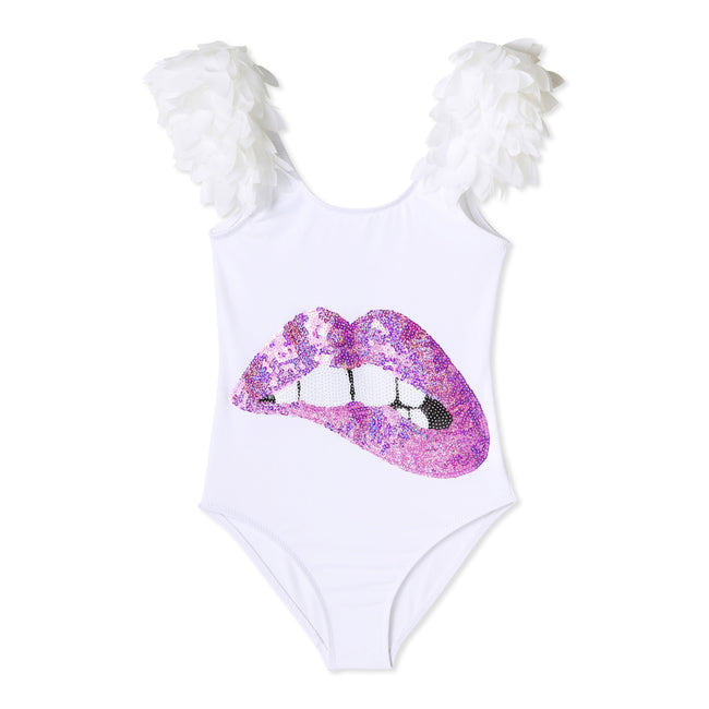 Make a big splash with this Stella Cove sequin applique and petal winged bathing suit for girls.  Hand Wash Cold and Drip Dry all items. With all white items, rinse thoroughly after a dip in chlorinated water.