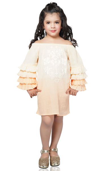 This Ombre Embroidered Tunic Dress has a beautiful silhouette with tiered fluttered sleeves. With the ultra-soft material this dress is fit for any occasion. The calming color contrast is of a beautiful sun rise and will leave people taking a double look! Don't forget to check out the Mommy and Me set to match your mini in style!