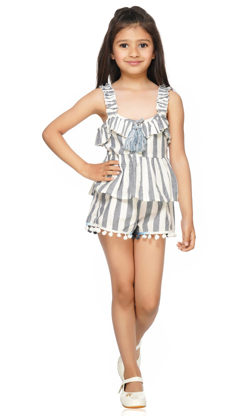 This adorable and stylish Manatee Striped set has a beautiful nautical essence that is an absolute fit for all occasions. This is a must-have for their summer collection. This set is carved with all skin-friendly fabric for long duration use and utmost comfort. It is designed to offer unmatched charm to their overall look.  Set includes top & shorts Don't forget to check out the Mommy and me set to match in style!