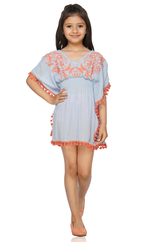 This adorable kaftan is super soft and it is embroidered with an attractive design. Made of ultra-soft fabric, this cover up is perfect for the beach visit. Hand-wash is highly recommended for this cover up. Don't forget to check out the Mommy and Me set to match your mini in style!