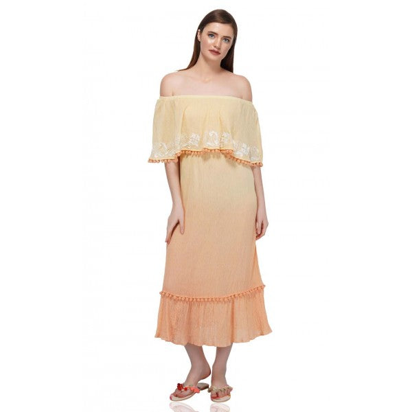 The Ombre Embroidered Off The Shoulder Dress is designed to offer unmatched charm to your overall look. A stunning dress like this Midi Dress is a must-have dress for your summer collection that you can dress up or dress down for a causal boho look! Contrasted in beautiful colors, this dress is an absolute fit for all occasions.