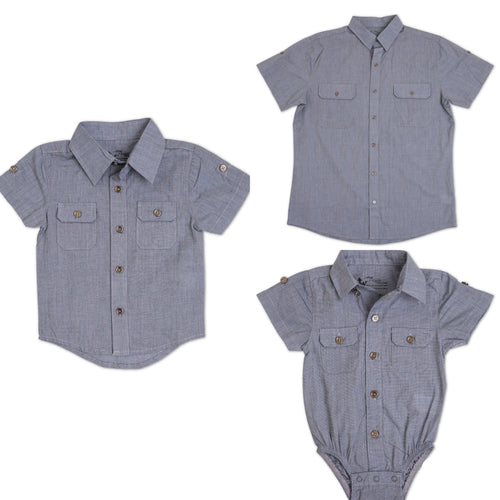 The Littlest Prince steel blue dress shirt can be worn casual with jeans or you can dress it up with one of our matching ties and bowties. This set is perfect for stylish brothers as well as for matching daddy!
