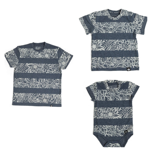 The Littlest Prince Navy & Cream Tropical Tee is perfect for island vacations or Spring/Summer days. The tropical print along with the bold blue colors will definitely have your little man standing out. This set is perfect for stylish brothers as well as for matching daddy