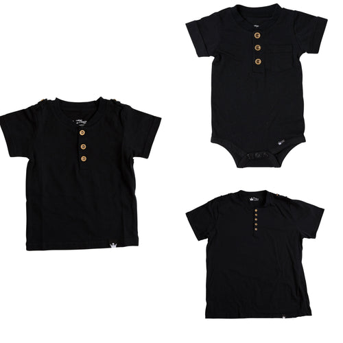This cool t-shirt is super comfy and comes with military buttons on the sleeves. This casual Tee can even be worn under a nice sports jacket with jeans. This set is perfect for stylish brothers as well as for matching daddy!