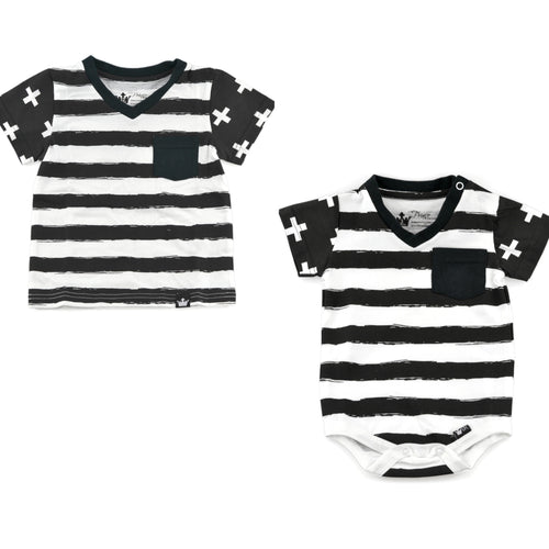 So stylish! So hip! This V-neck matching bodysuit and Tee is the perfect set for your budding fashion stars. We love matching brothers, cousins and besties! This is perfect for the upcoming nice weather and great for vacation getaways.