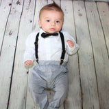 This trendy baby boy outfit is casually proper! The pants are super comfy (stretchy) and the bow tie and suspenders add a perfect fashionable touch!  Each set comes with stretchy pants, a white button down shirt, black bow tie and black suspenders.