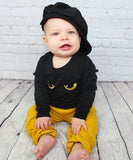 The Dragon 2 piece set is for our baby and toddler boys. This set includes a long sleeve shirt (not sweatshirt) and elastic waist pants. Perfect style for heading into the Halloween season.