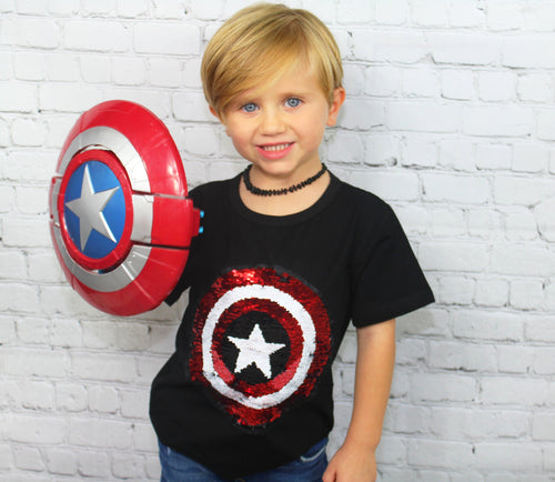 Superheroes unite! This awesome tee can be worn two ways with just the swipe of your hand. One side of sequins is Captain America and the other side is Spiderman. This shirt is so much fun to wear and looks adorable on! Calling all Superhero's - GIRLS and BOYS!