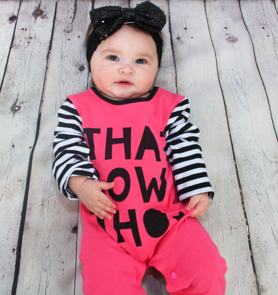 The Bigger the Bow, the better! This super comfy baby girl romper is perfect for the baby diva's who love the BIG BOWS! Snaps are conveniently located at the bottom for easy changes. Perfect day to day outfit!