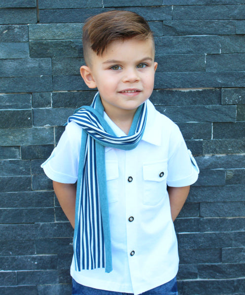 The Lil Prepster is for the dapper dudes who like to dress preppy. This three piece set comes with short sleeve button down tee, two sided scarf and jeans. This toddler boy set is super stylish and causal all at the same time.