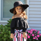The Autumn two piece set comes with a long sleeve ruffled top that can sit as a scoop neck or off the shoulder depending on how your little Diva likes to wear it. The pants are lightweight and have an elastic waist. The matching belt is attached to the pants and can be tied in a bow.