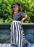 This Sassy Little Number is a two piece set that comes with a scoop neck top that cuts low in the back and fun striped pants with ruffles lining the sides. Your little diva will love rocking this outfit to school!