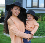 Add this gorgeous wide brim felt hat to all of your Fall styles! We have three colors for your mini fashionista to choose from - red wine, black and beige. We also have the matching hat for mommy too!