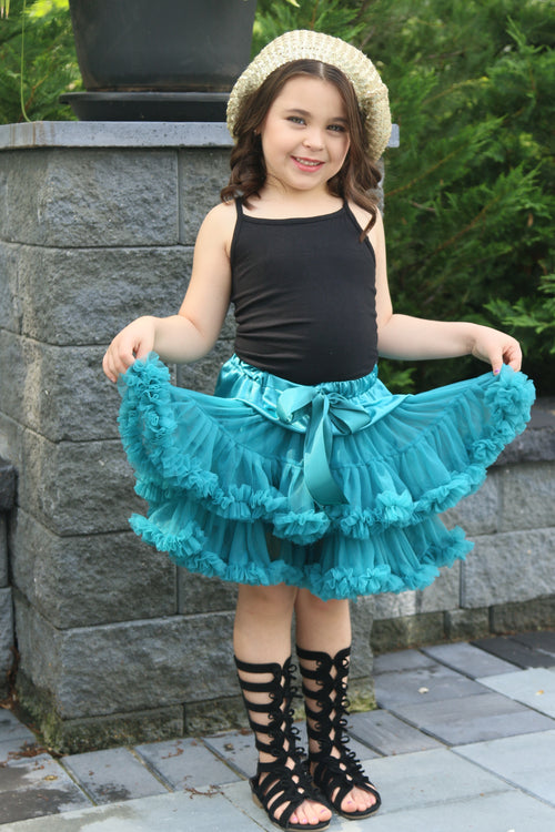 The fluffy tutu petti skirt is everything you want in a tutu. The ruffles are layered giving it a ton of poof! A satin bow lines the front. The color is gorgeous!