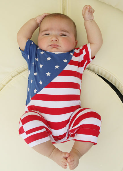 Get your Lil Man ready for the 4th of July with this stylish shorts romper. Snaps are located at the bottom to make it easy for diaper changes.