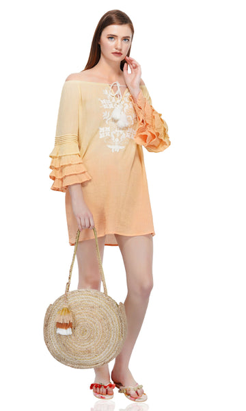 This Ombre Embroidered Tunic Dress has a beautiful silhouette with tiered fluted sleeves. With the ultra-soft material this dress is fit for any occasion. The calming color contrast is of a beautiful sun rise and will leave people taking a double look! Don't forget to check out the Mommy and Me set to match your mini in style!