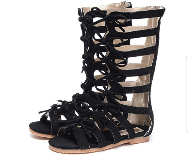 These zipper back gladiator open toe shoes have bows lining in the front. The light suede finish turns these boots into comfy casual or a dressy finish for the perfect outfit.