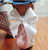 These trendy fish net ankle socks are the perfect addition to any of our causal or classic collections. Depending on the size of your child, these socks can fit our baby diva's (up to calf) or our tween diva's (ankles). Each fish net sock has a big bow on the back.  One size fits all - available in white or black