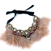 Calling all Boujie Diva's! Our crystal feather necklaces are the perfect addition for our mini diva's all the way up to our mama diva's. Each necklace sits high on top of your existing shirt and is lined with colorful feathers and shining crystals.  Mix and match with your mini for the perfect stylish accessory!  Available in beige, black, red and blue