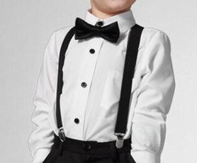 Black White Polka 3 piece set includes suspenders, bow tie and tie. Dress any outfit up with these adorable accessories!  The Tie comes on an elastic circle making it super easy to put on. The Bow tie has a small white dot design.