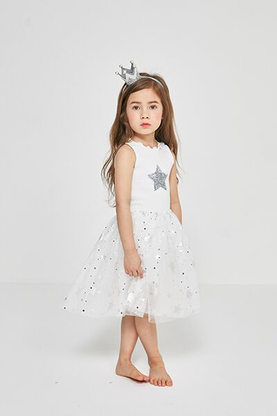 Sweet, just like an angel! Our Petite Hailey Sparkle Tutu Dress will have your little girl looking angelic! The bottom tulle is fluttered with floating silver stars and the main star located across the chest shines bright!  Add on any of our Petite Hailey Cape's to complete the look!