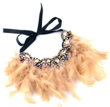 Our Beige Glitz necklace is stunning!  This makes the perfect addition for our mini diva's all the way up to our mama diva's.This necklace sits high on top of your existing shirt and is lined with beige / brown long feathers and shining crystals.  Mix and match with your mini for the perfect stylish accessory!