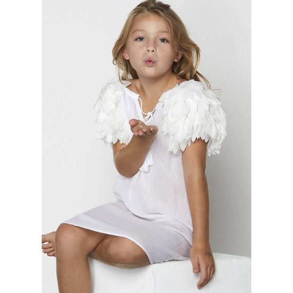 White petal cover-up dress for girls to match the white petal swimsuit and bikini.