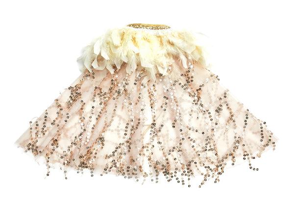 The Adele cape is STUNNING! This will pop any dress or tutu set. The neckline is lined with feathers and ties with a ribbon. The entire cape is lined with gold shimmering sequins. This is perfect for toddlers starting at age 3 all the way to our tweens. Perfect for your little diva!