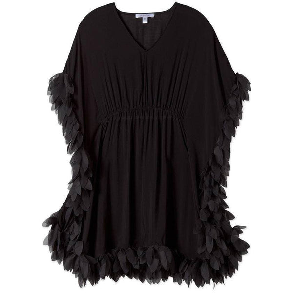Black Beach Cover Up Poncho with Black Petals