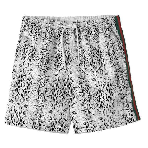 Cool boardshorts for boys in snake print and green red stripe detail made from high quality fabrics. See matching bikini for sisters.