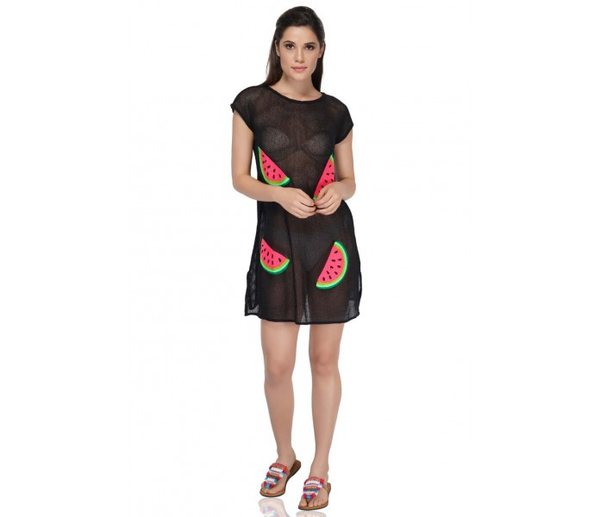 Made of ultra-soft fabric, this cover up is perfect for your next beach visit! It is embroidered with a fun watermelon design that will fit any summer day mood! Hand-wash is highly recommended for this cover up. This cover up can be stunningly paired with the Watermelon slushe flap clutch and the Mommy and me set.