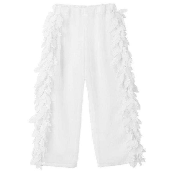 White petal cover-up pants for girls to match the white petal swimsuit and bikini.