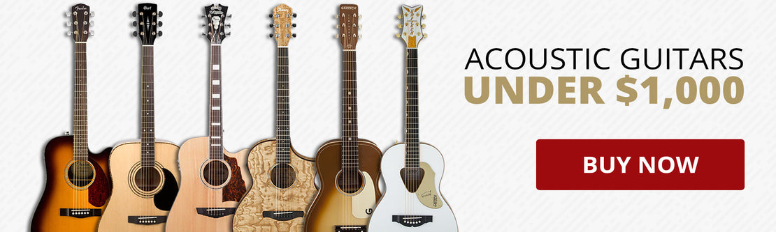 A row of 6 acoustic guitars of different brands