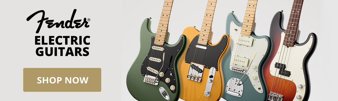 A row of four Fender electric guitars