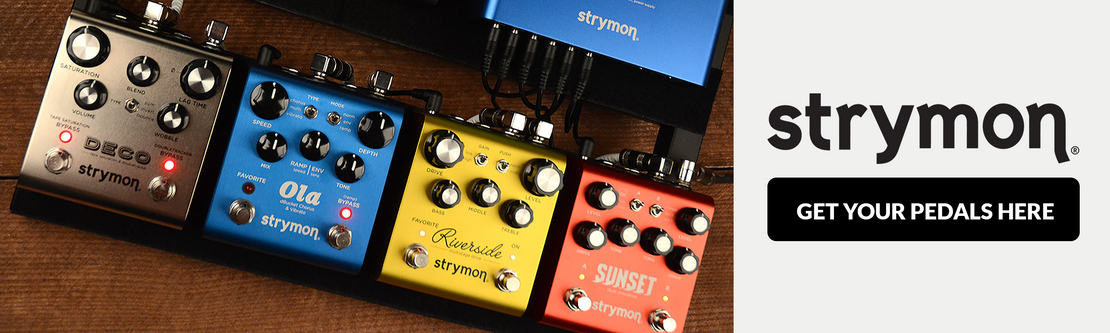 A row of 4 Strymon effects pedals